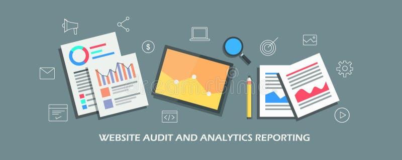 Websitecontrole, marketing analyticsrapport, maatregelen online bedrijfsprestaties Vlakke ontwerp vectorbanner vector illustratie