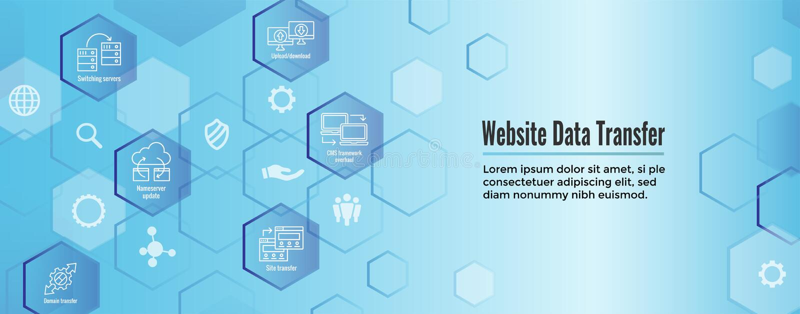 WebsiteDatenübertragung Ikonen-Satz und Netz-Titel-Fahne vektor abbildung