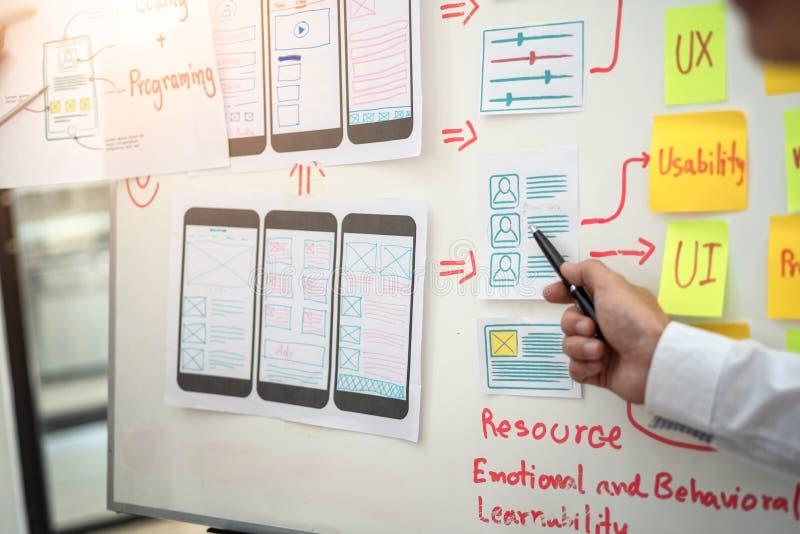 Websitedesignerentwicklung UI/UX, die über skizziertes bewegliches Anwendungsprojekt Anmerkungen wireframe Plans desing ist Benut lizenzfreies stockfoto