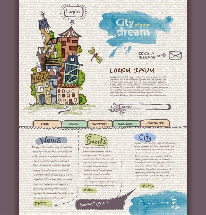 Websitedesignmall. Stad stock illustrationer