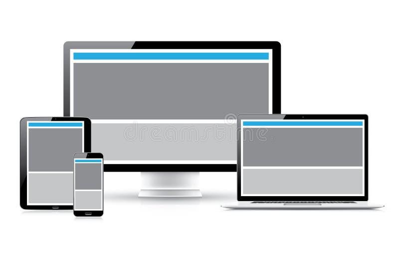 Websitedesignutvecklingsprocess  royaltyfri illustrationer
