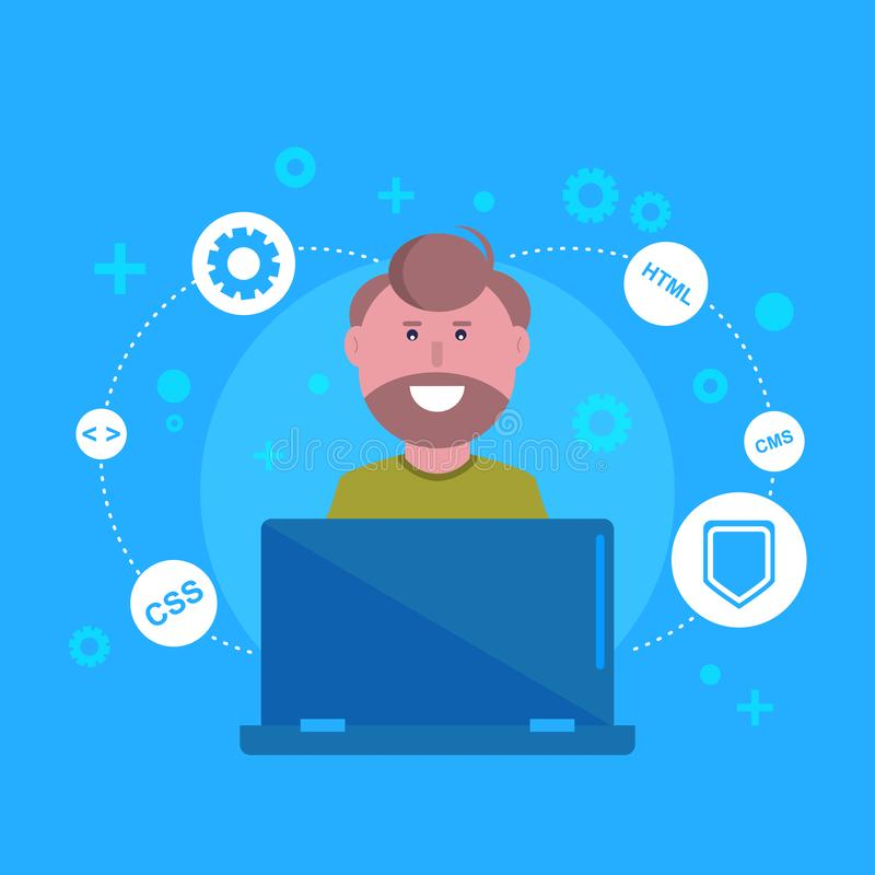 Websiteentwicklung, programmierend, Webdesign lizenzfreie abbildung