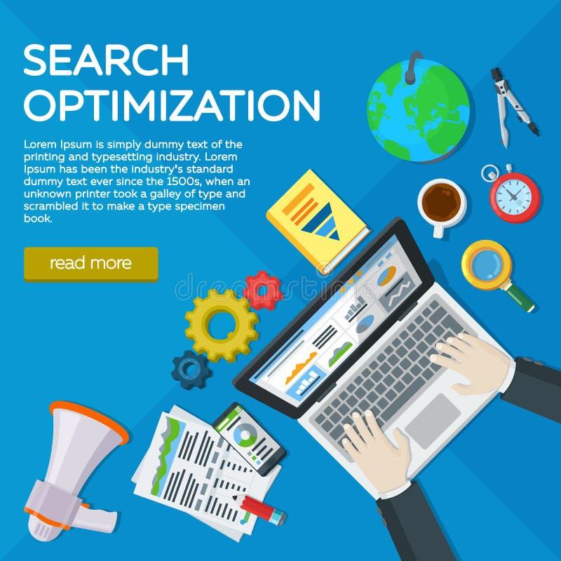 Websiteentwicklung, Suchmaschinen-Optimierung Netzanalytikelemente und -marketing Experte in SEO Draufsichtarbeitsplätze des Mana vektor abbildung