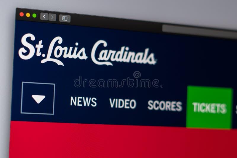Websitehomepage Baseballteam St. Louis Cardinals Schlie?en Sie oben vom Teamlogo stockfotografie