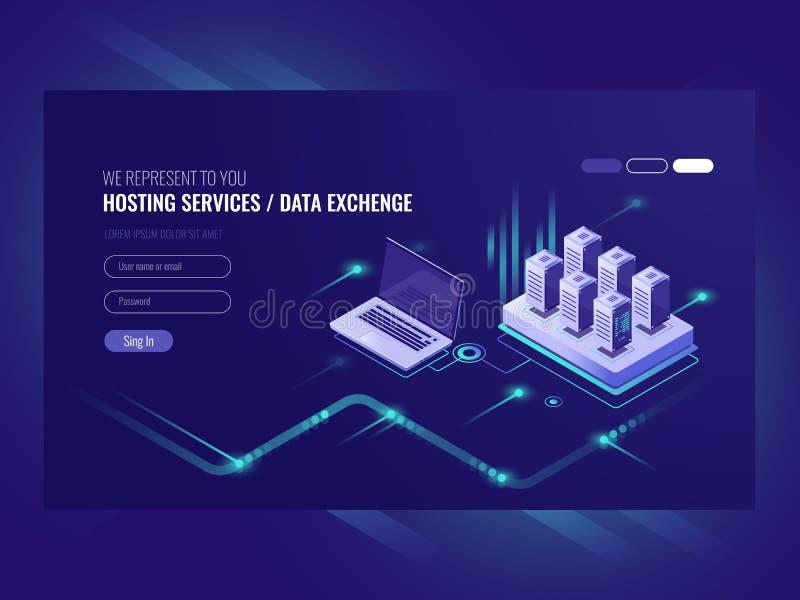 Websitehostingdienstleistungen, Serverraumgestell, Rechenzentrum, suchende Daten, isometrischer Vektor der Netzverwaltung vektor abbildung