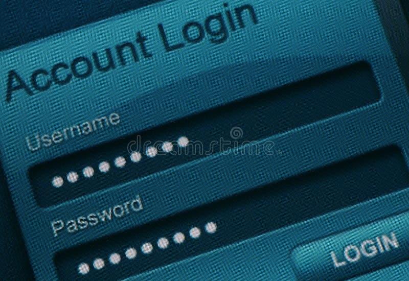 Websiteinloggning arkivbild
