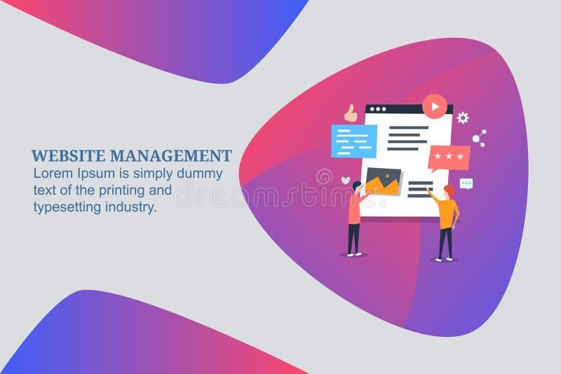 Websiteinnehållsledning, experter som klarar av innehållet för websiteåhörare, websiteledningprogramvara och hjälpmedel Plant ban royaltyfri illustrationer