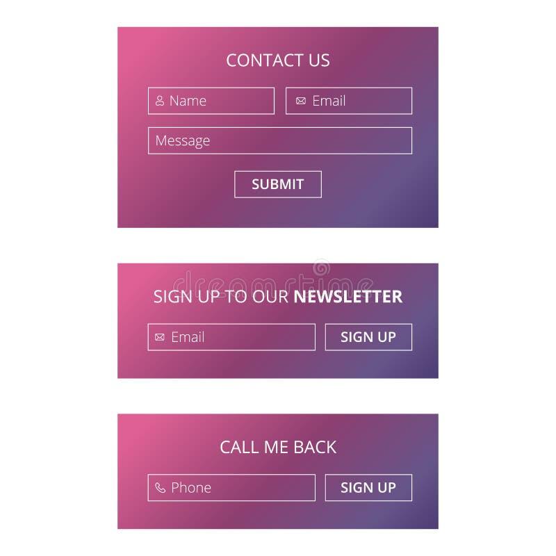 Websitekontakt und unterzeichnen sich bildet oben stock abbildung