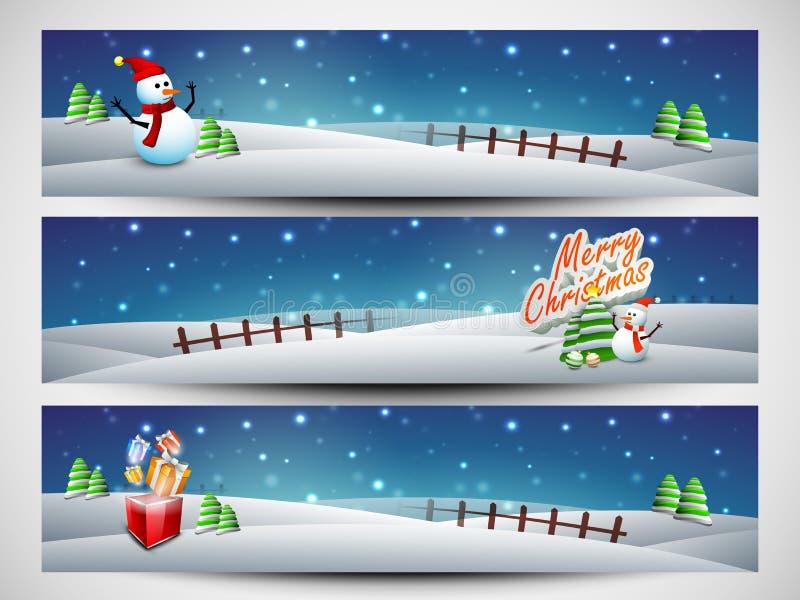 Websitekopbal of banner voor Vrolijke Kerstmisviering die wordt geplaatst stock illustratie