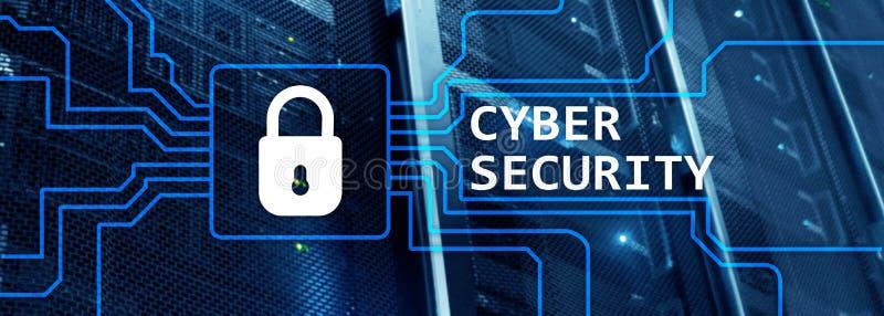 Websitekopbal Cyberveiligheid, informatieprivacy en gegevensbeschermingconcept op de achtergrond van de serverruimte royalty-vrije stock foto