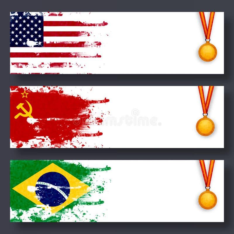 Websitekopbal met Vlaggen en Medailles voor Sporten royalty-vrije illustratie