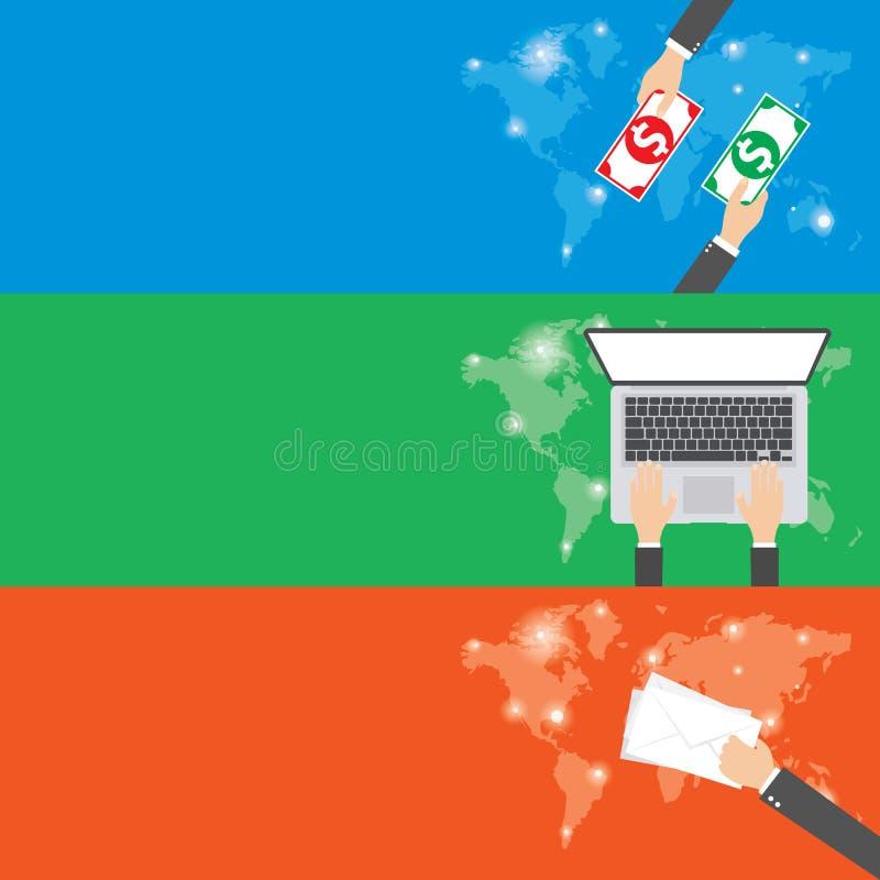 Websitekopballen of van Bevorderingsbanners Malplaatjes Digitale marketing E-mail envelop Vector illustratie vector illustratie