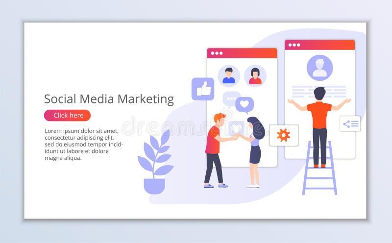 Websitemall av socialt massmedia som marknadsför, plan designvektorillustration vektor illustrationer