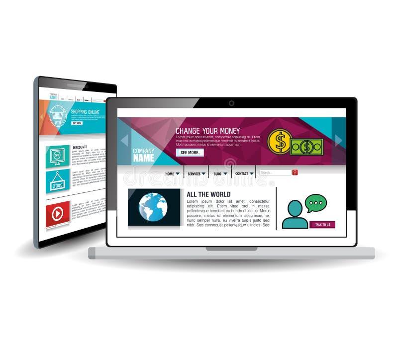 Websitemall i elektroniska apparater royaltyfri illustrationer