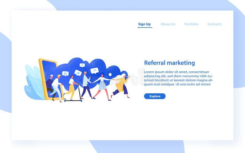 Websitemall med grupp människor eller kunder som rymmer händer och går ut ur den jätte- smartphonen Guld- text p? m?rk bakgrund vektor illustrationer