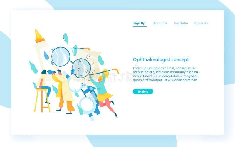 Websitemall med undersökande ögon för ögonläkare av den kvinnliga patienten Kontroll för visuell skärpa, oftalmologiservice vektor illustrationer