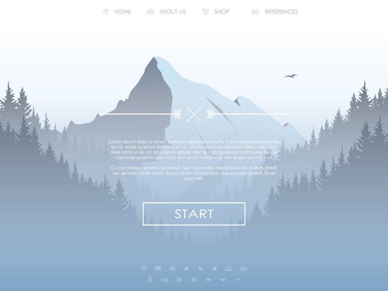 Websitemall med uppsättningen av symboler för att landa sidan på naturlig landskapbakgrund med det höga berget och skogen stock illustrationer