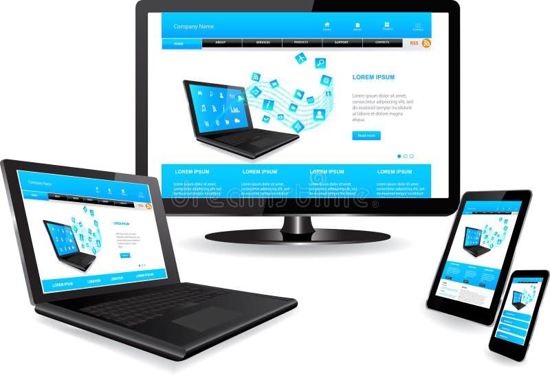 Websitemall på åtskilliga apparater royaltyfri illustrationer