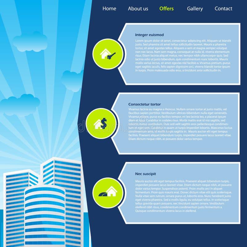 Websitemalldesign med cityscape- och köpandealternativ royaltyfri illustrationer
