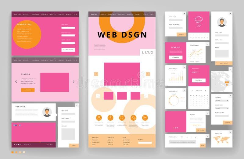 Websitemalldesign med manöverenhetsbeståndsdelar vektor illustrationer