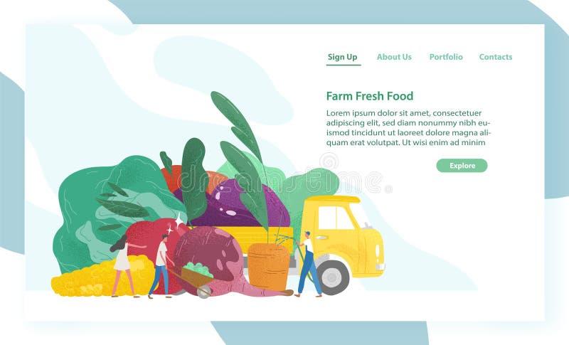 Websitemalplaatje met reuzegroenten, vrachtwagen en uiterst kleine mensen of landbouwers Organisch vers voedsel Landbouw of landb stock illustratie