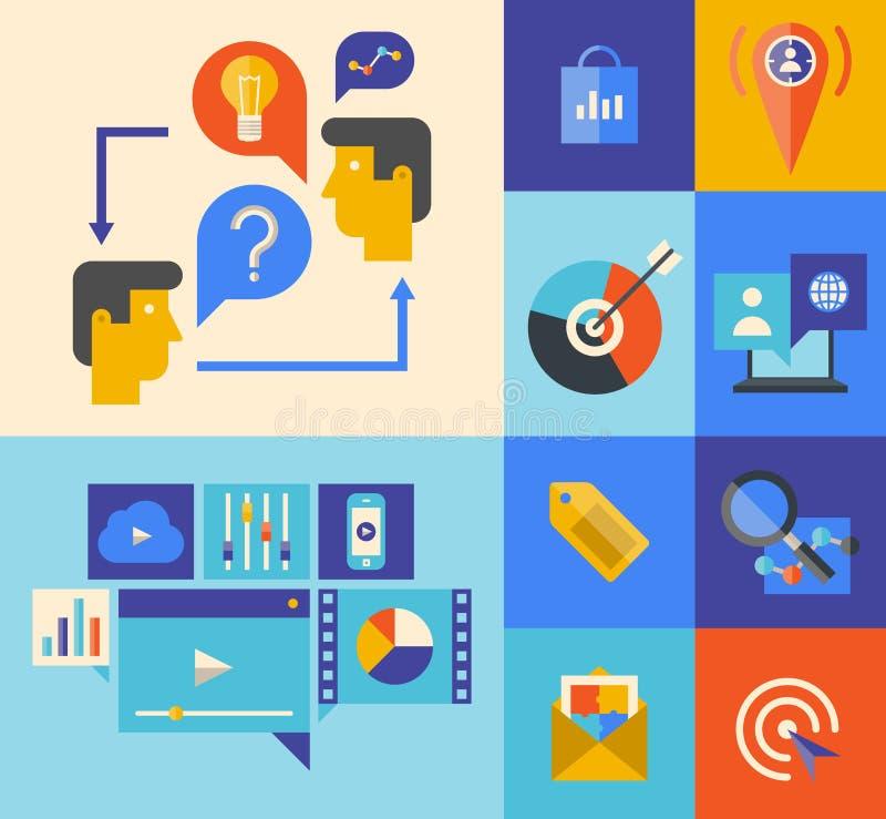 Websitemarknadsförings- och idékläckningsymboler stock illustrationer