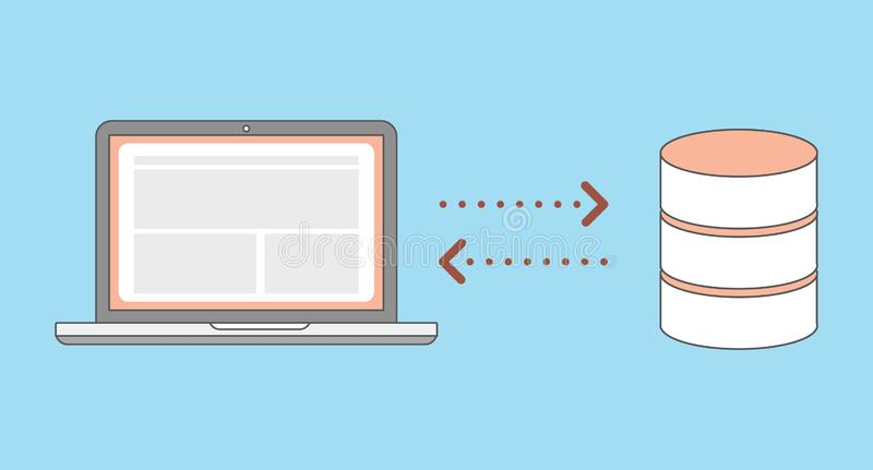Websiten arbetar överföringsdata från webbläsarebärbara datorn och databas royaltyfri illustrationer
