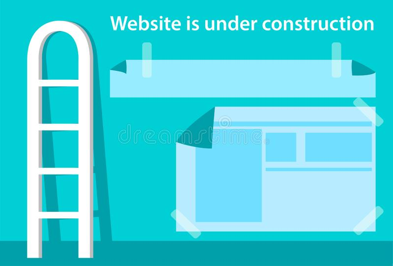 Websiten ?r under konstruktionssidan Illustration med trappa och fönster i plan stil ocks? vektor f?r coreldrawillustration royaltyfri illustrationer