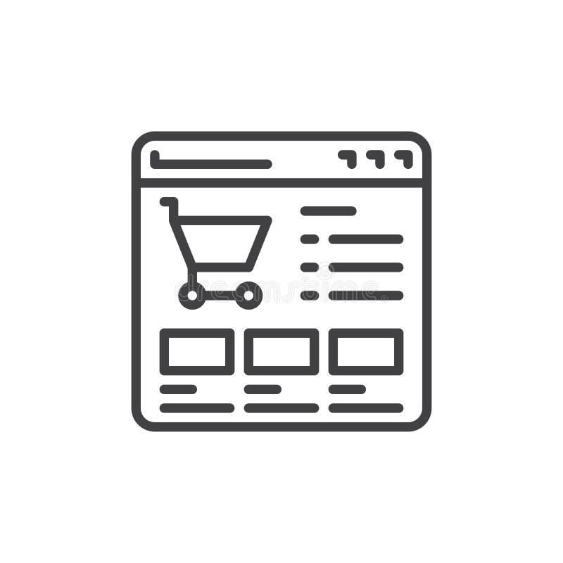 Websiten shoppar linjen symbol stock illustrationer