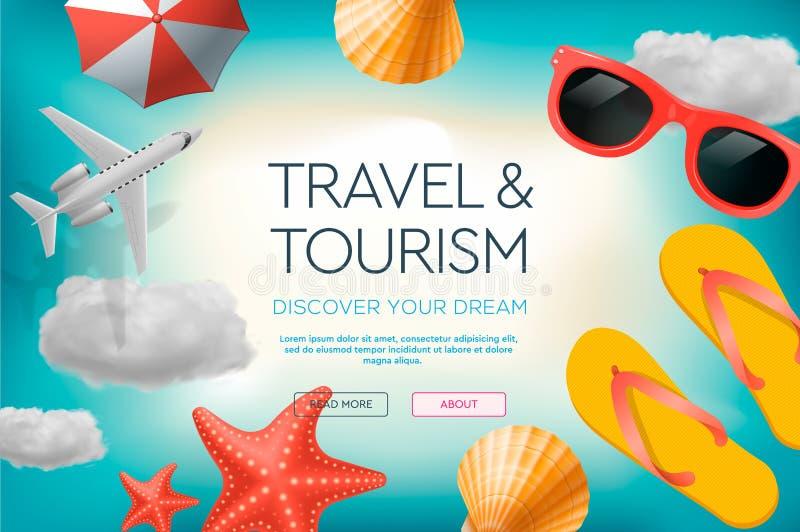 Websiteontwerpsjabloon op het thema van reis, vakantie, avontuur Landingspaginaconcepten voor website en mobiel stock illustratie