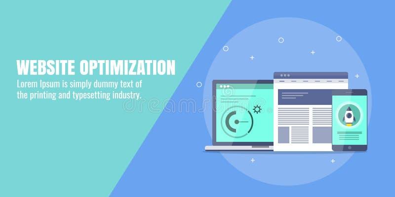 Websiteoptimalisering, seoconcept voor mobiele, Web-pagina Digitale marketing, verhogingsomzetting, het concept van het Webverkee royalty-vrije illustratie