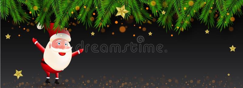 Websiteplakat- oder -fahnenentwurf mit nettem Weihnachtsmann-Charakter lizenzfreie abbildung