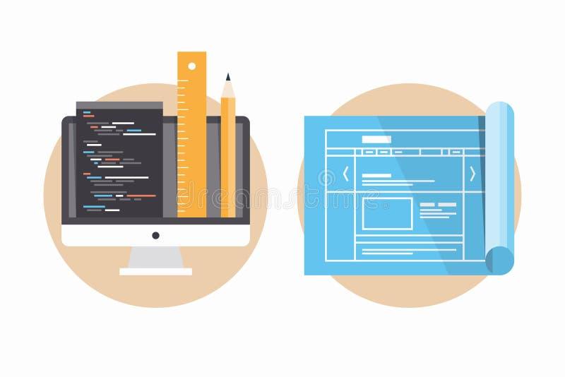 Websiteprogrammierungs- und -entwicklungsikonen vektor abbildung