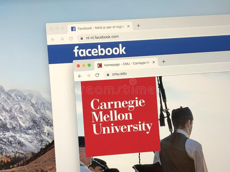 Websites do Facebook e da Universidade Carnegie Mellon imagens de stock royalty free