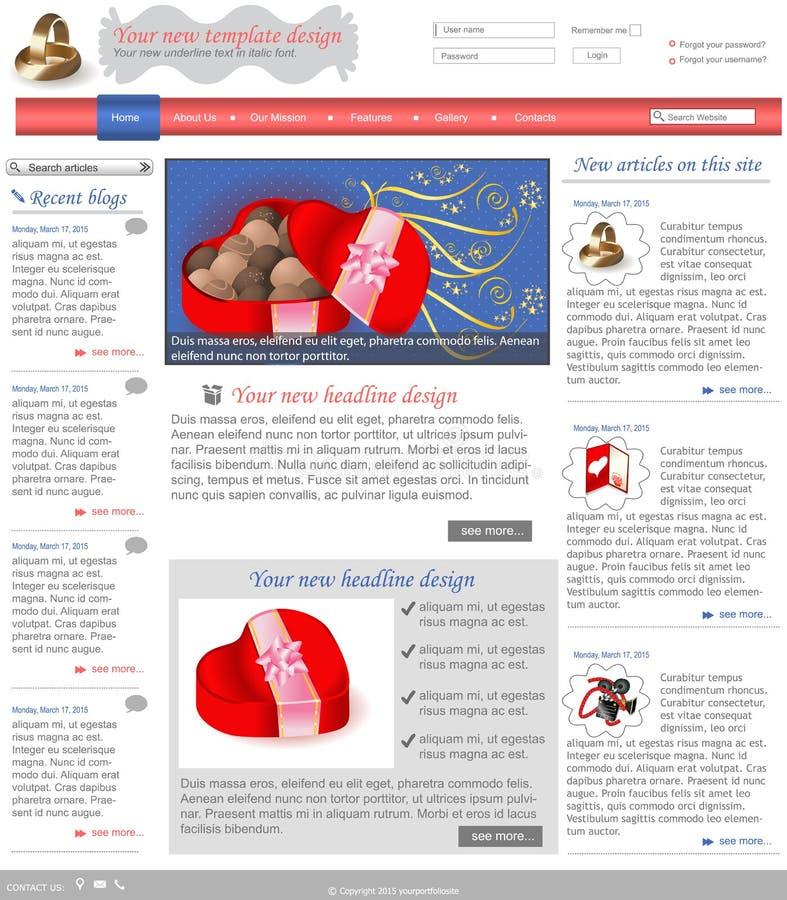 Websiteschablone 3 lizenzfreie abbildung