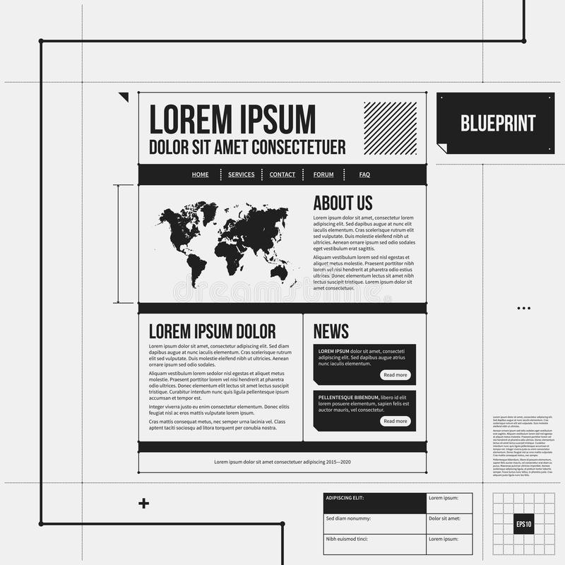 Websiteschablone in der Entwurfsart vektor abbildung