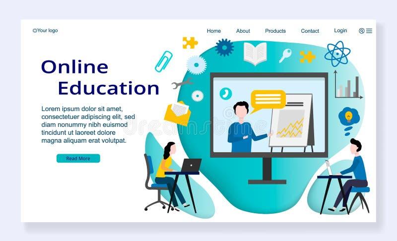 Websiteschablone des on-line-Ausbildungskonzeptes vektor abbildung