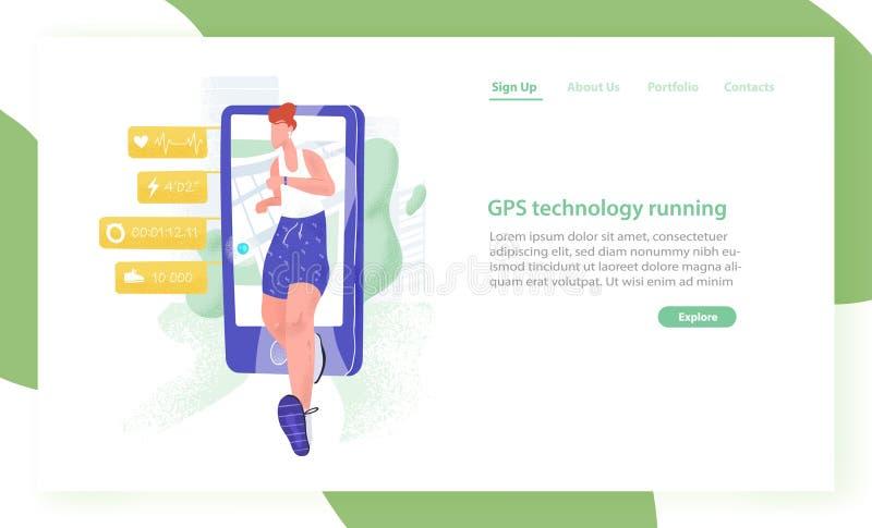 Websiteschablone mit rüttelndem Athleten oder Sportler und Smartphone Laufende Spurhaltungstechnologie GPSs Bewegliche Anwendung stock abbildung