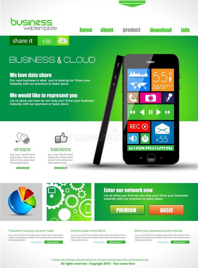 Websiteschablone zu den Firmenkundengeschäft- und Wolkenzwecken. stock abbildung