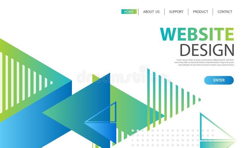 Websiteschablonendesign und -landung paginieren geometrisches Formen backgr stock abbildung