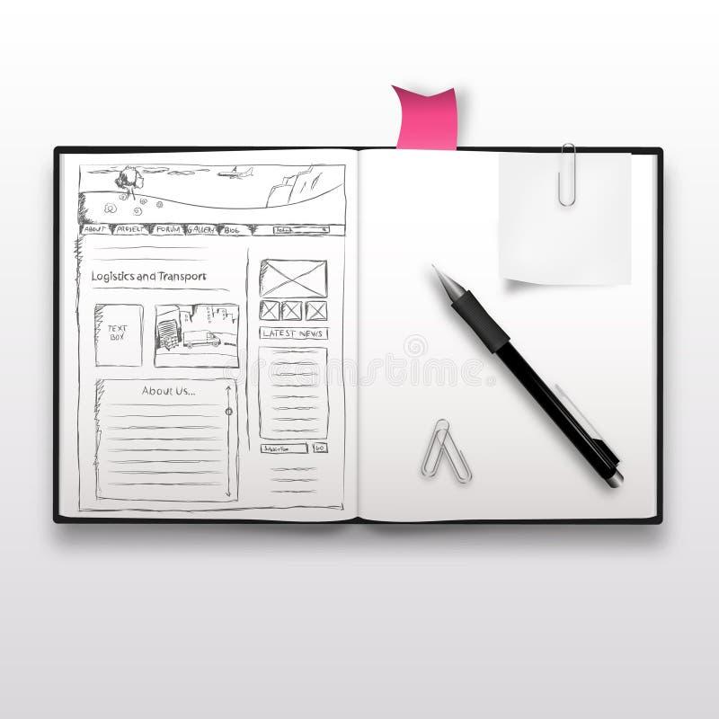 Websiteschets op notitieboekje, vector illustratie