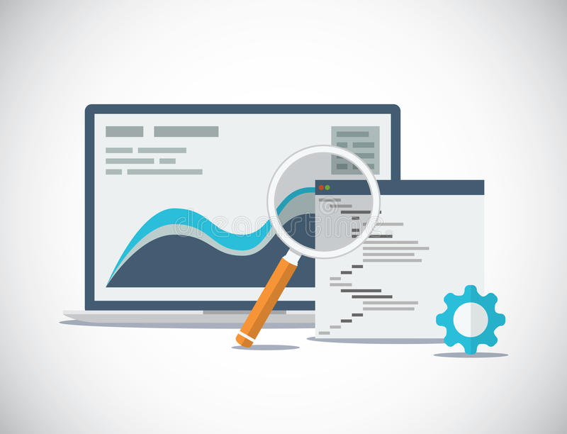 Websiteseo analyse en proces vlakke vector vector illustratie