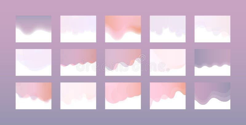 Websitetiteldesign stellte in modische Pastellfarben mit Steigungs- und Farbübergang ein vektor abbildung