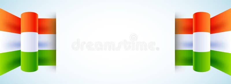 Websitetitelrad- eller banerdesign som dekoreras med indiskt tricolor stock illustrationer