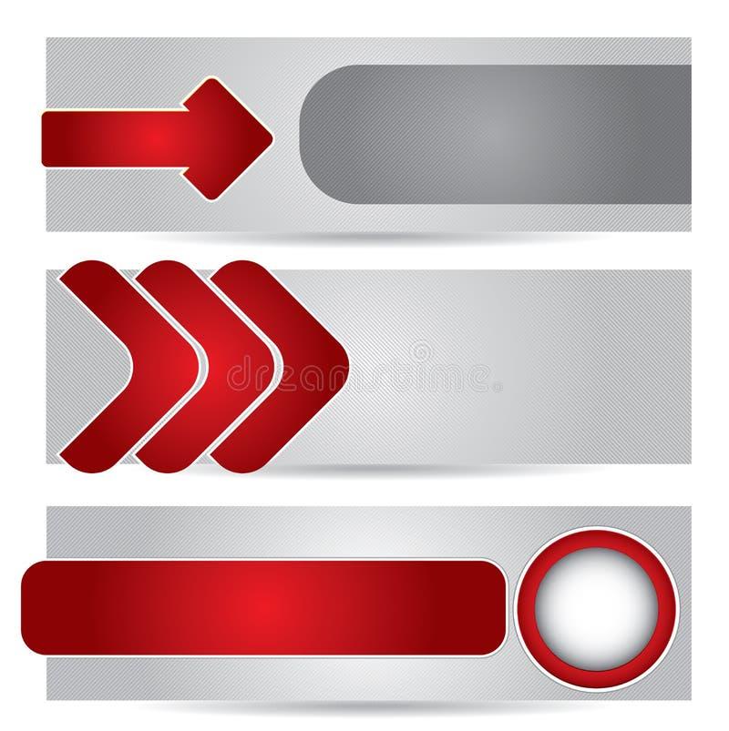 Websitetitelrad eller banerset vektor illustrationer