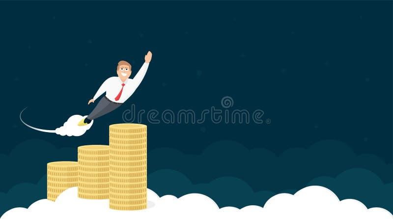 Websitetitelraddesign med affärsmannen And Coins vektor illustrationer