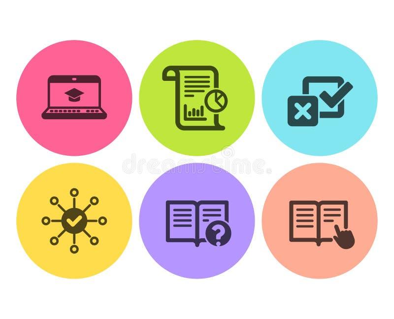 Websiteutbildning, granskningskontroll och Checkboxsymbolsuppsättning Rapport, hjälp och läst anvisningstecken vektor royaltyfri illustrationer