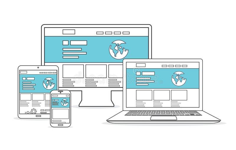 Websiteutveckling och marknadsföringsvektor vektor illustrationer
