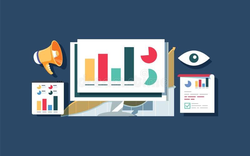 Websiteverkehrsüberwachung, WebsiteDatenanalyse, Vektor-Designfahne der Websiterechnungsprüfung flache vektor abbildung
