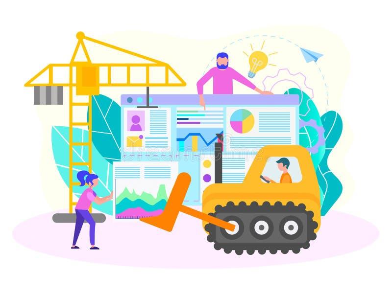 Websiteverwezenlijking, SEO-optimalisering, zoekmachineconfiguratie vector illustratie